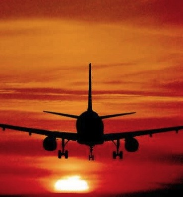 aeroplane in sunset
