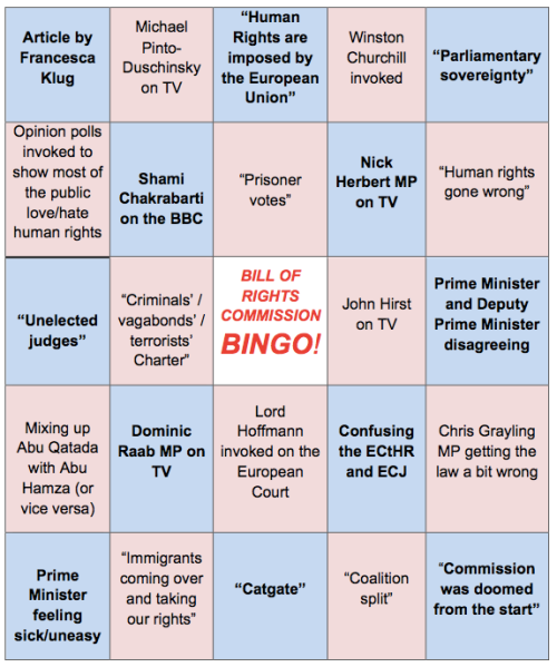 Bill of Rights Commission Bingo