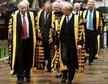 UK Supreme Court judges walk towards Westminster Abbey